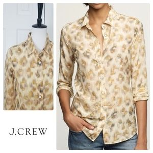 J. Crew Bronzed leopard perfect shirt - Size 4